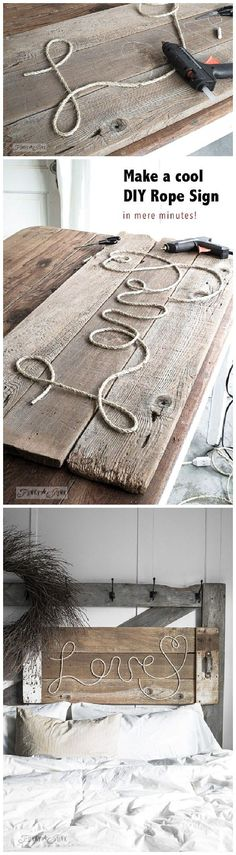Make a cool DIY Rope Sign like this one... in minutes! So cool, cheap and fun to personalize for anyone on your gift list! DIY Rope Sign Tutorial | funkyjunkinteriors-donna                                                                                                                                                                                 More