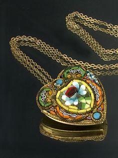 Vintage Micro Mosaic Heart Pendant Flower Mosaic Heart