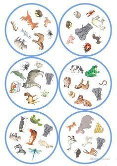 Games in German lessons: Dobble - Animals cards / 8 p Teach English To Kids, Teaching English, Double Game, English Games, Kids Corner, English Lessons, Diy Toys, Baby Animals, Board Games