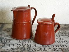 vintage French enamel pitcher small maroon jug with by AtticAntics