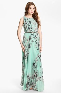 Eliza J Floral Sleeveless Print Chiffon Maxi Dress (Plus) available at #Nordstrom