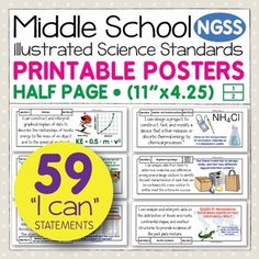 Bring the NGSS science standards to life with these easy-to-use, printable posters for middle school science. They are perfect for showing students, parents, and administrators the academic standard that is at the root of your lesson. The illustrations and kid-friendly language help students make sense of the standards.