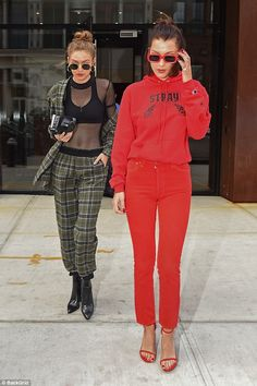 No breaks: Model sisters Gigi, 22, and Bella Hadid, 20, were back to work Thursday as the ...