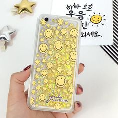 Smile Face Yellow Glitter Bling with Quicksand Case Cover for iPhone 6