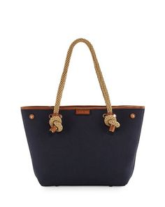 MICHAEL Michael Kors Maritime Medium Canvas Beach Tote Bag, Admiral