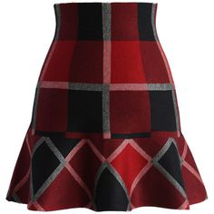 Chicwish Red Plaid Knitted Skater Skirt (€35) ❤ liked on Polyvore featuring skirts, red, stretchy skirts, red stretch skirt, flared skirt, circle skirt and sexy skirt