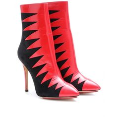 Charlotte Olympia Hazel Leather and Suede Ankle Boots in Red (rose)