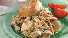 Come home to comfort!  Saucy tuna and veggies bake under flaky buttermilk biscuits.