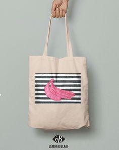 Hot pink banana print on cotton tote Pink Banana, Banana Print, Tote Bags, Hot Pink, Cotton, Fashion, Moda, Fashion Styles, Tote Bag
