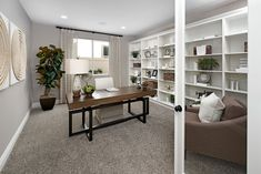 Work from home? Yes, please! | Yorktown model home study | Corona, California | Richmond American Homes Industrial Office Design, Modern Office Design, Office Interior Design, Office Interiors, California Homes, Corona California, Richmond American Homes, Commercial Office Design, Solid Wood Desk