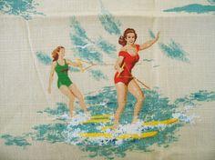 Vintage 1950's water skiers barkcloth