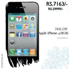 Today Only! {{76%}} this item. Like us on Pinterest to be the first to see our exciting Daily Deals. Today's Product: {{Apple iPhone 4 (8GB, Refurbished)}} Buy now: {{http://www.fonezone.in/products/apple-iphone-4-refurbished-8gb}}