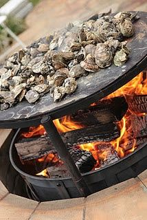 Hearth pit with oysters....  See even more at the photo link