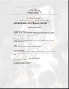 resume for masons | MASON RESUME | resumes | Pinterest