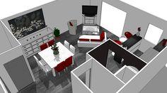 Modernisation d'un espace salon cuisine dans un appartement.