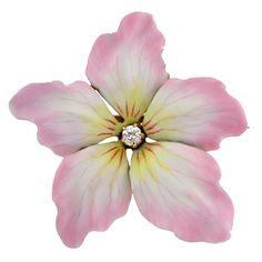 Art Nouveau Enamel Cherry Blossom Brooch, Circa 1905