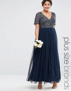 Lovedrobe Luxe | Lovedrobe Luxe V Neck Maxi Tulle Dress With Tonal Delicate Sequins