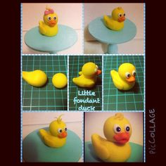 Making of little ducks : Making of little ducks Cake Topper Tutorial, Fondant Tutorial, Baby Shower Duck, Baby Shower Cakes, Rubber Ducky Party, Farm Animal Cakes, Duck Cake, Farm Cake, Fondant Animals