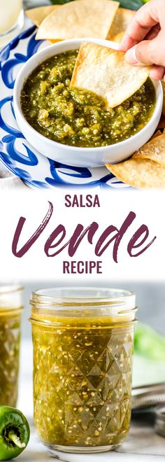This Easy Salsa Verde Recipe made with tomatillos and jalapenos can be used in dozens of Mexican dishes. It's gluten-free, dairy-free, vegetarian and vegan. via Isabel Eats {Easy Mexican Recipes} Mexican Food Recipes, Whole Food Recipes, Vegan Recipes, Dinner Recipes, Cooking Recipes, Easy Mexican Dishes, Delicious Recipes, Easy Salsa Verde Recipe, Dairy Free