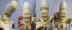 Japanese artist Keisuke Yamada carves edible sculptures into the flesh of ripe bananas!
