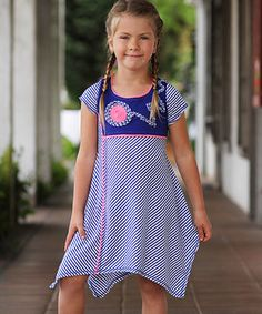 Look what I found on #zulily! Blue Stripe Sidetail Dress - Girls by Freckles + Kitty #zulilyfinds
