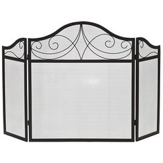 Three-Fold Arched Black Wrought Iron Fireplace Screen