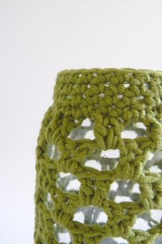 moss green crochet jar cosy, the perfect vase by edward & lilly