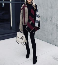 Krystal Schlegel featuring Sam Edelman and Burberry. Edgy Outfits, Winter Outfits, Fashion Outfits, Rock Outfits, Couple Outfits, Emo Fashion, Burberry Poncho, Thanksgiving Fashion, Diy Thanksgiving