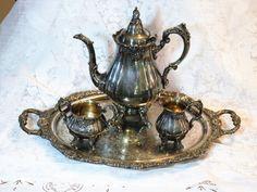 Wallace Baroque Ornate Silver 4 Piece Coffee by AmericanVintageAve