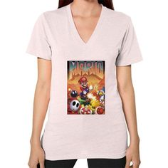 Mario's Doom V-Neck (on woman)