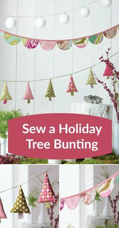 Sew News, December/January 2016 Digital Edition Buntings are an easy sewing project you can use to decorate your home for the holidays, special occasions, or change of seasons. This holiday tree bunting project is included in the Dec/Jan 2016 issue of Sew Christmas Decorations Sewing, Christmas Sewing Projects, Diy Sewing Projects, Sewing Projects For Beginners, Xmas Crafts, Diy Crafts, Sewing Tips, Diy Christmas Bunting Garland, Christmas Sewing Gifts