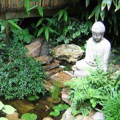 Pond with Buddha Ponds For Small Gardens, Balinese Garden, Garden Fountains, Garden Gates, Feng Shui, Garden Sculpture, Buddha, Cactus, Exterior