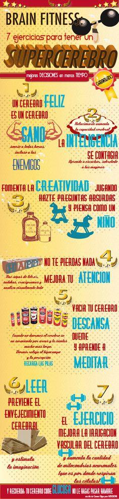7 ejercicios para tener un supercerebro #infografia #infographic