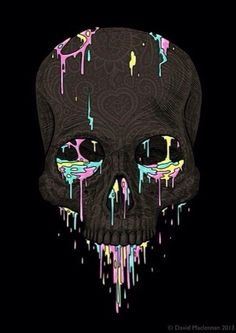 Black skull with pastel paint dripping art
