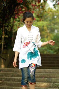 White Women Blouse Shirt Red Lotus Green Leaf  Plus Size Made to Order via Etsy