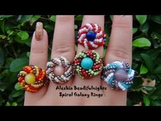 Find Spiral Galaxy Beaded Ring Tutorial in the Jewelry Making Tutorials - Beadweaving - Thread - Rings category on DIY Lessons - Learn Jewelry Making With Online Lessons, Videos and PDF Tutorials Beaded Rings, Beaded Jewelry, Handmade Jewelry, Beaded Bracelets, Jewellery, Beading Projects, Beading Tutorials, Jewelry Patterns, Beading Patterns