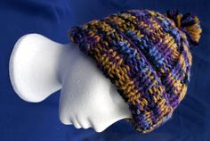Cosy hand knitted ribbed bobble hat in 'Mystery' (multicoloured purple, blue, black & sand). Handknit hat. Knit hat. Wool hat - pinned by pin4etsy.com