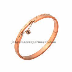 pulsera moda de numero arabigos de acero quirurgico en color oro dorado -SSBTG402160