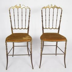 Two beautiful vintage brass Italian Chiavari spindle back brass chair - reliving the #HollywoodRegency