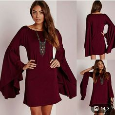 Plus size 1X Gorgeous Boho Bell Sleeve Dress Shirt Beautiful Bell Sleeve Boho Maroon Dress perfect with high boots, leggings or heels! I have this exact dress it is form fitting in the bust area and flows nicely past the waist. The Bell sleeves make an elegant statement Dresses