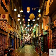 Psirri Athens HELLAS Athens City, Athens Greece, Light Effect, Friend Photos, Greece Travel, Amazing Destinations, Deep Blue, Photo Credit, Lights