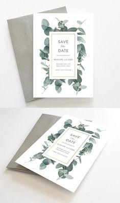 Greenery Save the Date, Greenery Save the Date Cards, Printable Save the Date Cards, Wedding Save the Dates, Eucalyptus Save the Dates // by Oakhouse on Etsy