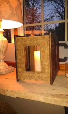 re-purposed picture frame candle holder Picture Frame Crafts, Picture Frames, Frame It, Diy Cleaning Products, Diy Stuff, Repurposing, Organizing, Amy, Candle Holders