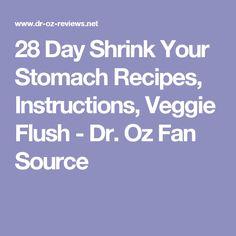 28 Day Shrink Your Stomach Recipes, Instructions, Veggie Flush - Dr. Oz Fan Source