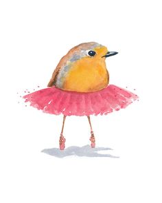 Ballet Bird, Robin Watercolor PRINT - Ballet Art, Ballerina, Bird Illustration, 8x10 Painting Print