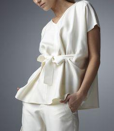 Ivory Silk Dupioni Tunic Blouse