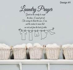 Laundry Prayer Grant me the SERENITY Home VInyl Wall Lettering Quotes Words Decal 13wx15h Laundry Room