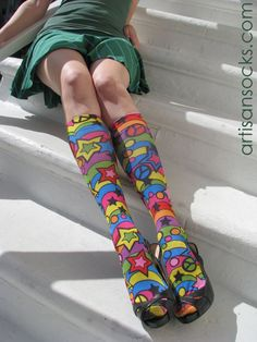 5bd17f49f25 Celeste Stein RAINBOW 60 S Print Knee High Stockings   Trouser Socks