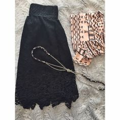 HP Lace Midi Skirt Beautiful thick lace with silky slip underneath. Never worn. Tiny mark w makeup on it (honestly tiny)- just saw it but should come right out! Francesca's Collections Skirts Midi