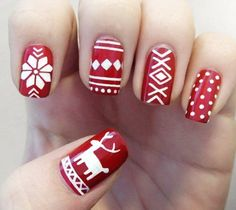Holiday Nail Art Designs to Try This Week Paint your nails red and white this December.Paint your nails red and white this December. Holiday Nail Art, Winter Nail Art, Christmas Nail Designs, Christmas Nail Art, White Christmas, Christmas Time, Christmas Manicure, Christmas Design, Christmas Sweaters